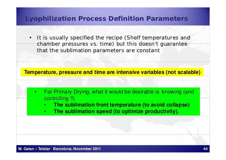 Lyophilization Process Definition Parameters     • It is usually specified the recipe (Shelf temperatures and       chambe...