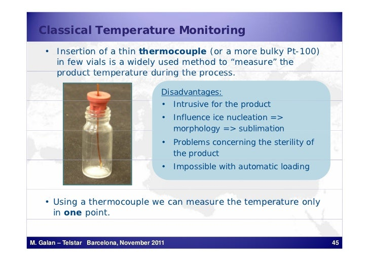 Classical Temperature Monitoring    • Insertion of a thin thermocouple (or a more bulky Pt-100)      in few vials is a wid...