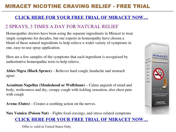 Miracet Nicotine Craving Relief Free Trial