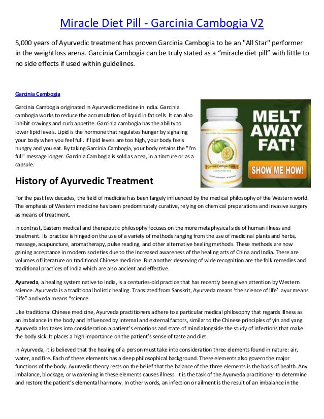 "Miracle Diet Pill - Garcinia Cambogia V2 5,000 years of Ayurvedic treatment has proven Garcinia Cambogia to be an ""All Sta..."