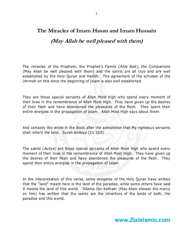 1  The Miracles of Imam Hasan and Imam Hussain  (May Allah be well pleased with them)  The miracles of the Prophets, the P...