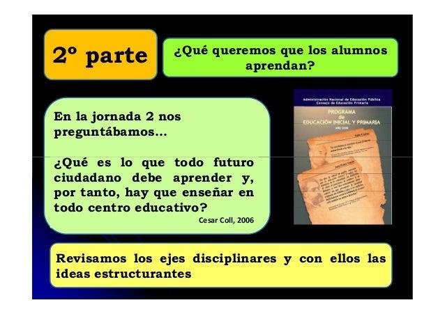 ¿Qué queremos que los alumnosaprendan?2º parteEn la jornada 2 nospreguntábamos…¿Qué es lo que todo futuroRevisamos los eje...