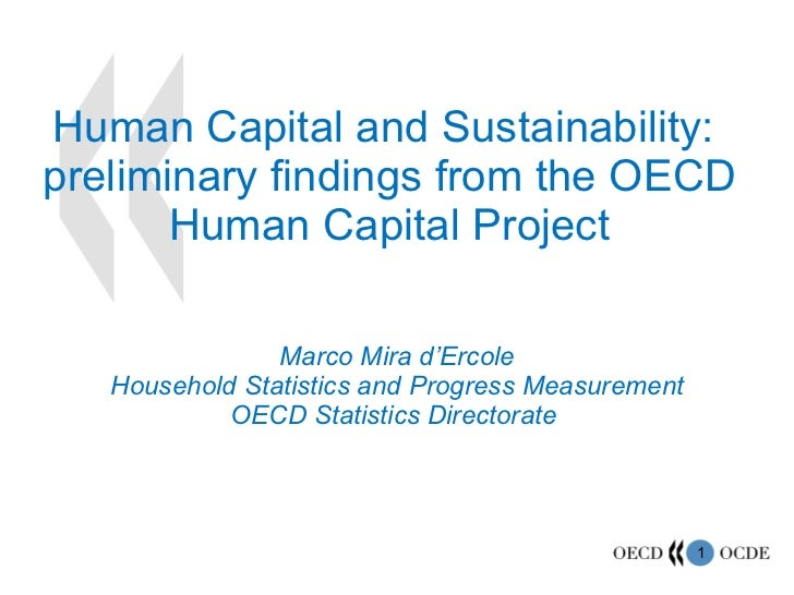 Human Capital and Sustainability:  preliminary findings from the OECD Human Capital Project Marco Mira d'Ercole Household ...