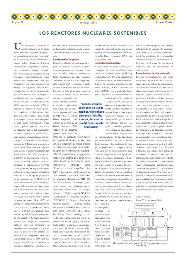LOS REACTORES NUCLEARES SOSTENIBLES Página 24 Mirador Nuclear los indicadores de publicaciones, núme- ro de patentes, cont...