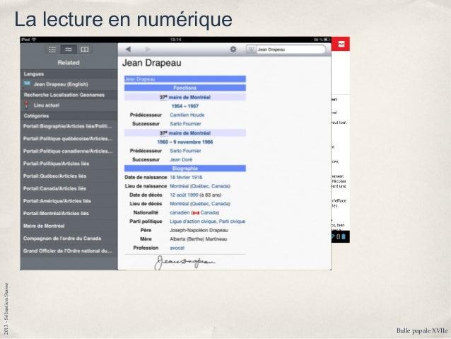 2013-SébastienStasse Le manuel scolaire numérique ✤ Outil très particulier, pointu ✤ Au-delà de l'outil de référence et de...