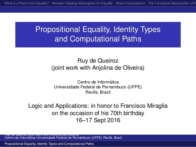 What is a Proof of an Equality? Brouwer–Heyting–Kolmogorov for Equality Direct Computations The Functional Interpretation ...
