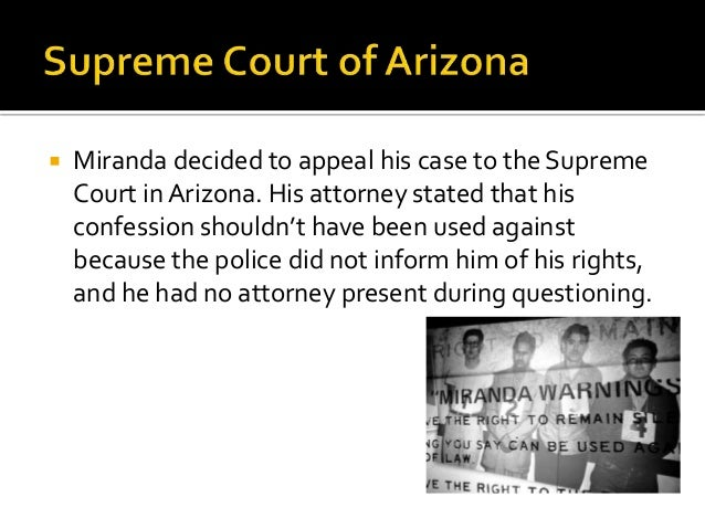 miranda v arizona case brief essay Synthesis essay #1 case brief 3: miranda v arizona g2 humanities project 2 – american lit & constitutional amendments case brief miranda v arizona (1966) 1.