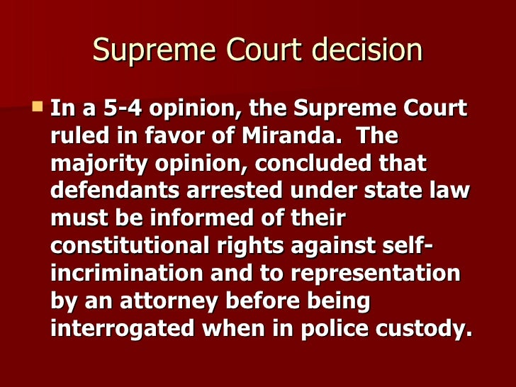 A report on the case of miranda versus the state of arizona