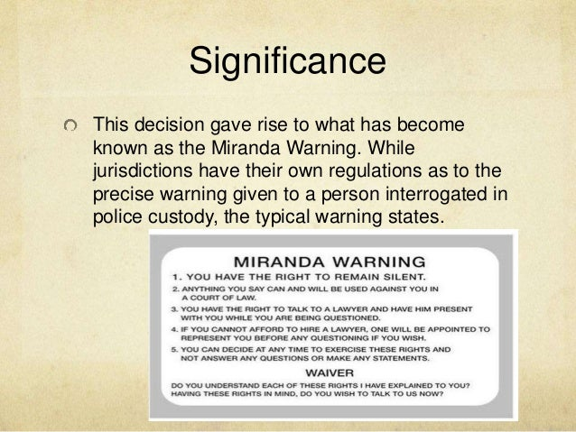miranda vs arizona paper View and download miranda v arizona essays examples also discover topics, titles, outlines, thesis statements, and conclusions for your miranda v arizona essay.