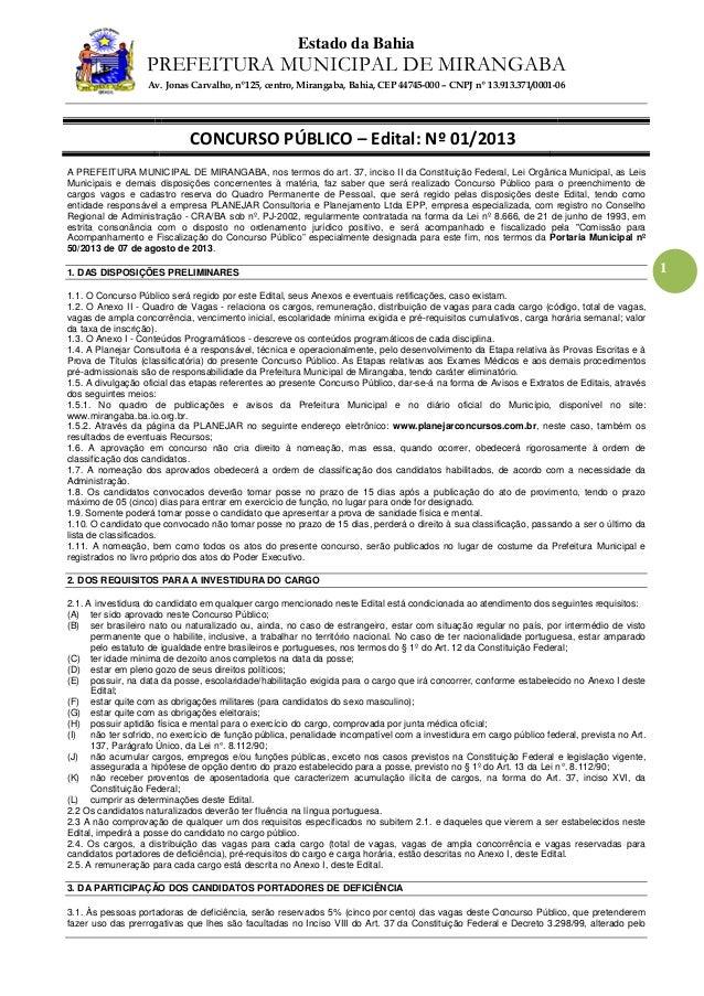 Estado da Bahia PREFEITURA MUNICIPAL DE MIRANGABA Av. Jonas Carvalho, nº125, centro, Mirangaba, Bahia, CEP 44745-000 – CNP...