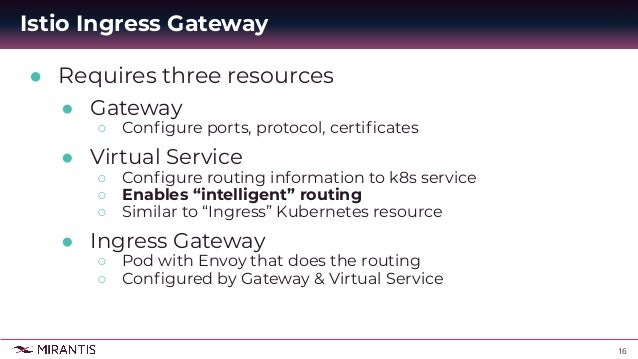 16 ● Requires three resources ● Gateway ○ Configure ports, protocol, certificates ● Virtual Service ○ Configure routing infor...