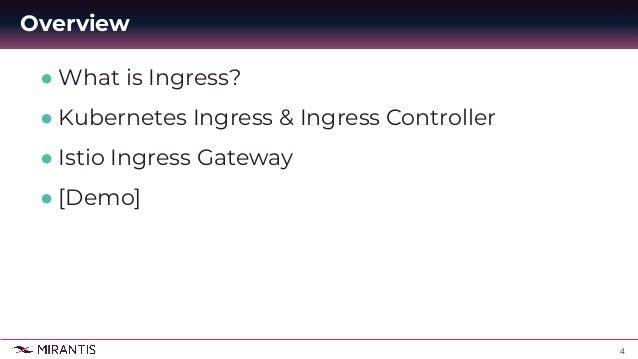 4 ● What is Ingress? ● Kubernetes Ingress & Ingress Controller ● Istio Ingress Gateway ● [Demo] Overview