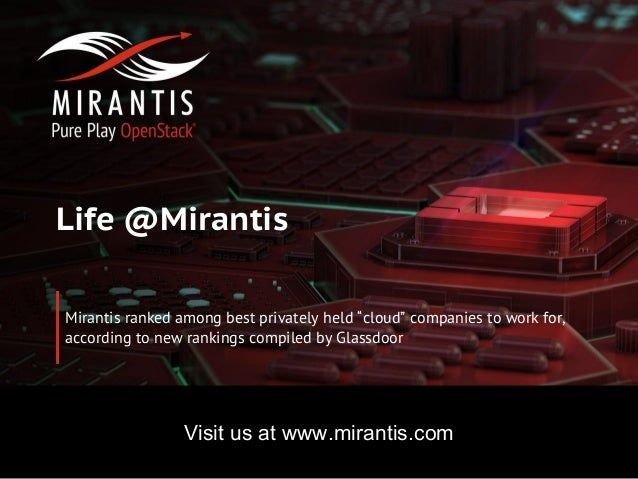 Copyright © 2016 Mirantis, Inc. All rights reserved www.mirantis.com Life @Mirantis Mirantis ranked among best privately h...