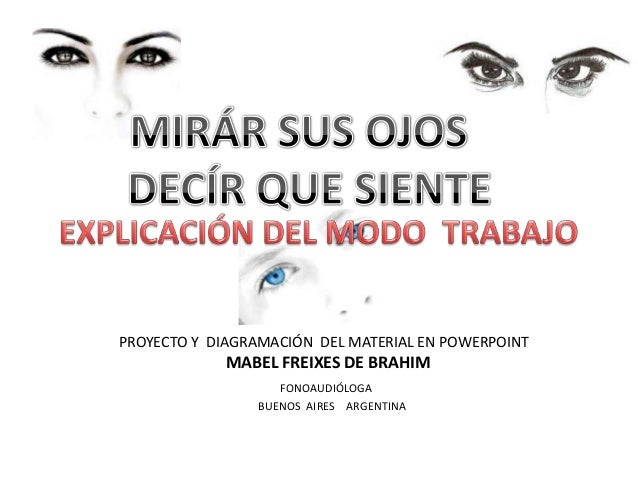 PROYECTO Y DIAGRAMACIÓN DEL MATERIAL EN POWERPOINT MABEL FREIXES DE BRAHIM FONOAUDIÓLOGA BUENOS AIRES ARGENTINA