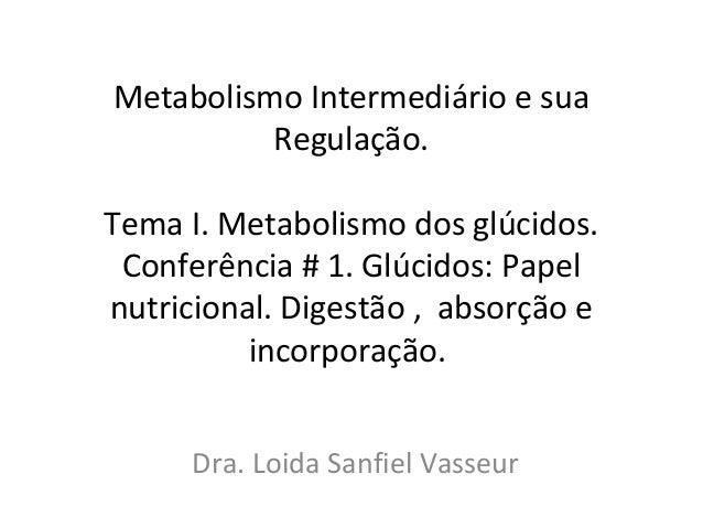 Metabolismo Intermediário e sua Regulação. Tema I. Metabolismo dos glúcidos. Conferência # 1. Glúcidos: Papel nutricional....