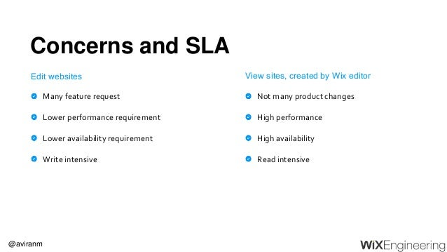 @aviranm Concerns and SLA Many feature request Lower performance requirement Lower availability requirement Write intensiv...