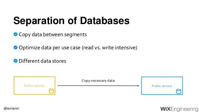@aviranm Separation of Databases Copy data between segments Optimize data per use case (read vs. write intensive) Differen...