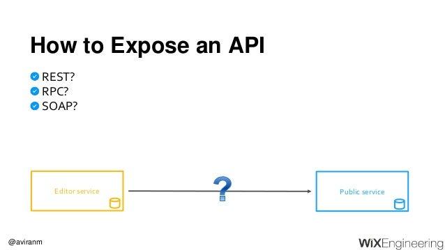 @aviranm How to Expose an API REST? RPC? SOAP? Public serviceEditor service