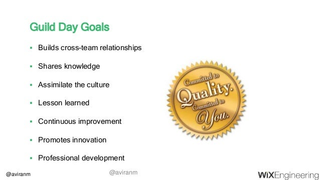 @aviranm Guild Day Goals  Builds cross-team relationships  Shares knowledge  Assimilate the culture  Lesson learned  ...