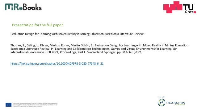 Evaluation Design for Learning with Mixed Reality in Mining Education based on a Literature Review Slide 2