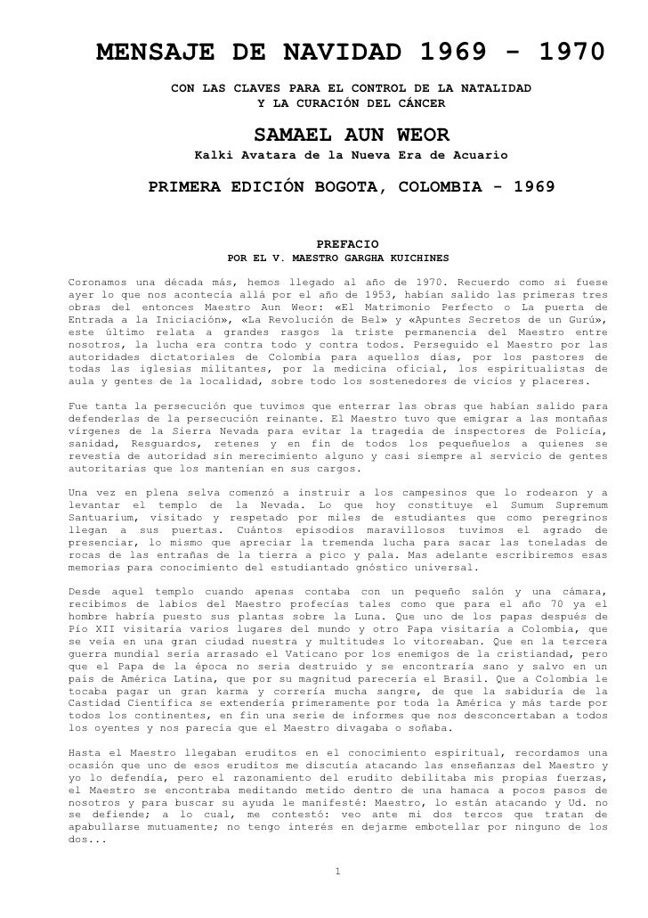 MENSAJE DE NAVIDAD 1969 - 1970                CON LAS CLAVES PARA EL CONTROL DE LA NATALIDAD                           Y L...