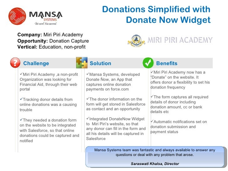 Donations Simplified with  Donate Now Widget Challenge Solution Benefits ? Miri Piri Academy ,a non-profit Organization wa...
