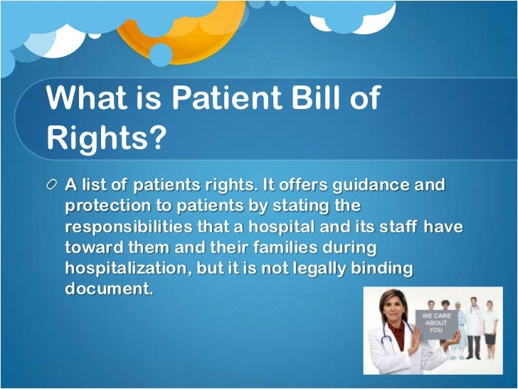 a patients bill of rights The amyotrophic lateral sclerosis association (the als association) prepared  the patient bill of rights to inform people living with als about their rights.