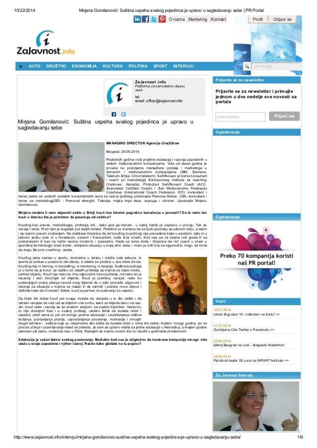 10/22/2014 Mirjana Gomilanović: Suština uspeha svakog pojedinca je upravo u sagledavanju sebe | PR Portal  O nama Marketin...