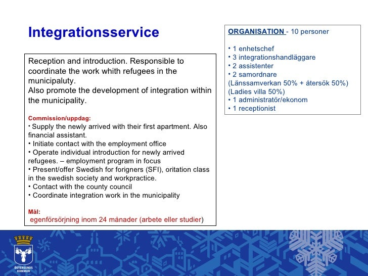 Integrationsservice <ul><li>ORGANISATION  - 10 personer </li></ul><ul><li>1 enhetschef </li></ul><ul><li>3 integrationshan...