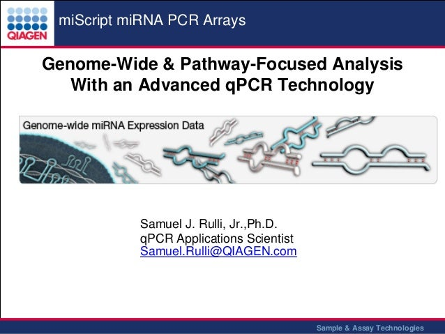 miScript miRNA PCR Arrays  Genome-Wide & Pathway-Focused Analysis With an Advanced qPCR Technology  Samuel J. Rulli, Jr.,P...
