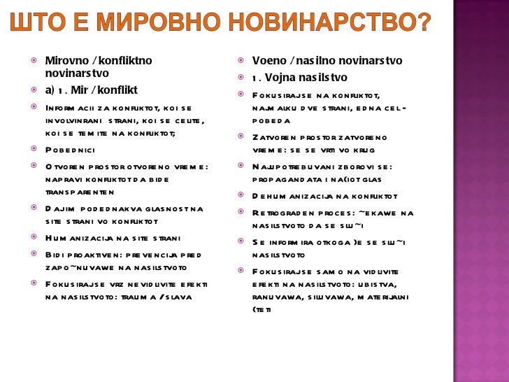 <ul><li>Mirovno / konfliktno novinarstvo </li></ul><ul><li>a)  1.  Mir / konflikt </li></ul><ul><li>Informacii za konflikt...