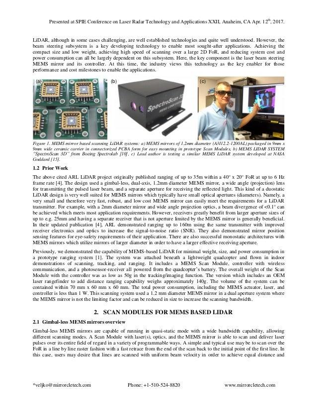Closed Loop Control of Gimbal-less MEMS Mirrors for Increased Bandwid…