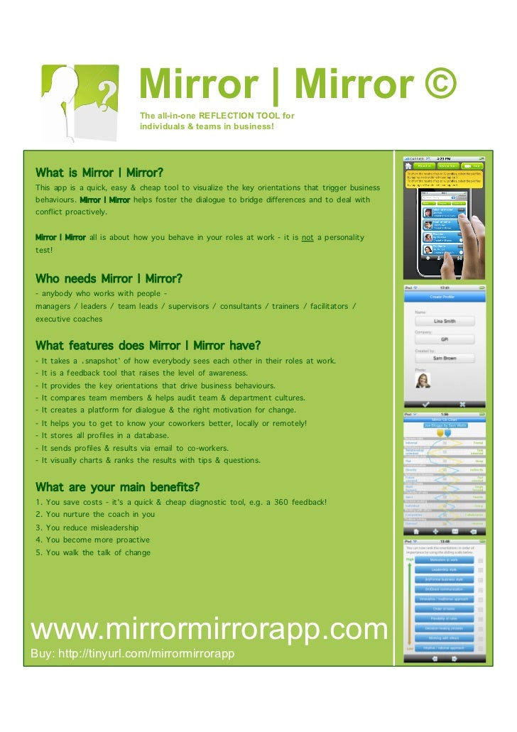 Mirror   Mirror ©                                The all-in-one REFLECTION TOOL for                                individ...