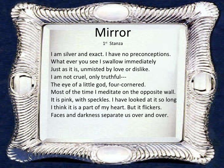 Mirror by sylvia plath for Mirror sylvia plath