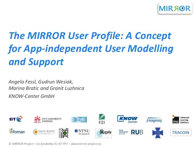 The MIRROR User Profile: A Concept for App-independent User Modelling and Support Angela Fessl, Gudrun Wesiak, Marina Brat...