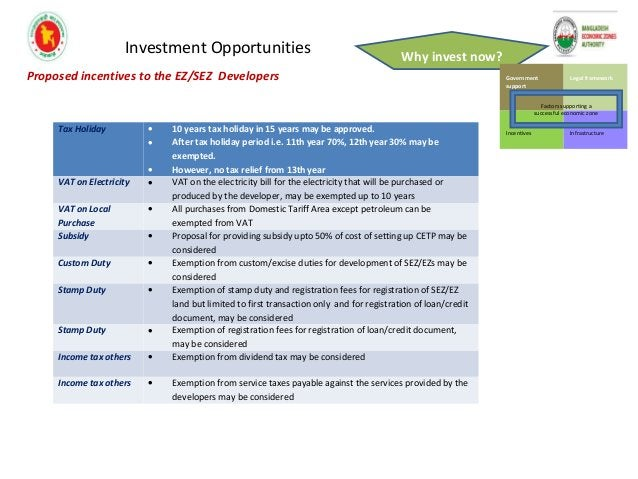 Investment Opportunities Why invest now? Proposed incentives to EZ/SEZ users/investors Head of Incentives Package Custom D...