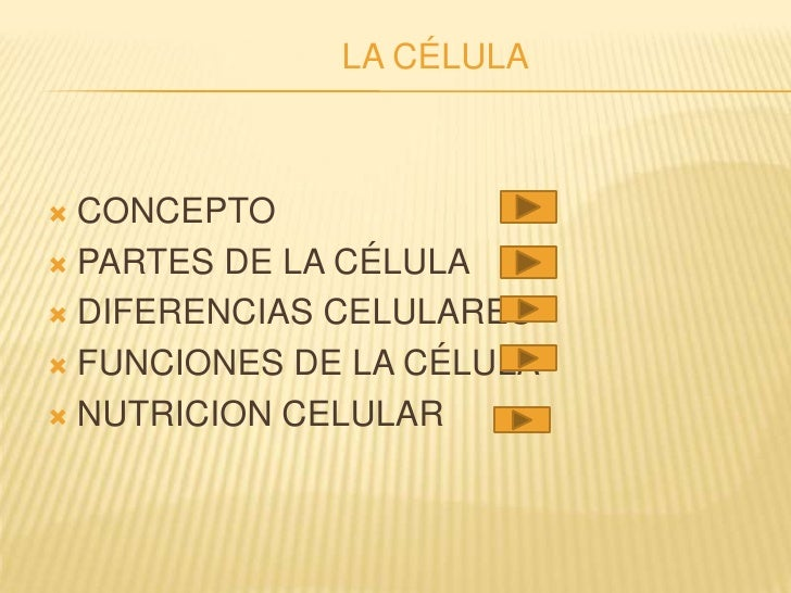 LA CÉLULA     CONCEPTO  PARTES DE LA CÉLULA   DIFERENCIAS CELULARES   FUNCIONES DE LA CÉLULA   NUTRICION CELULAR