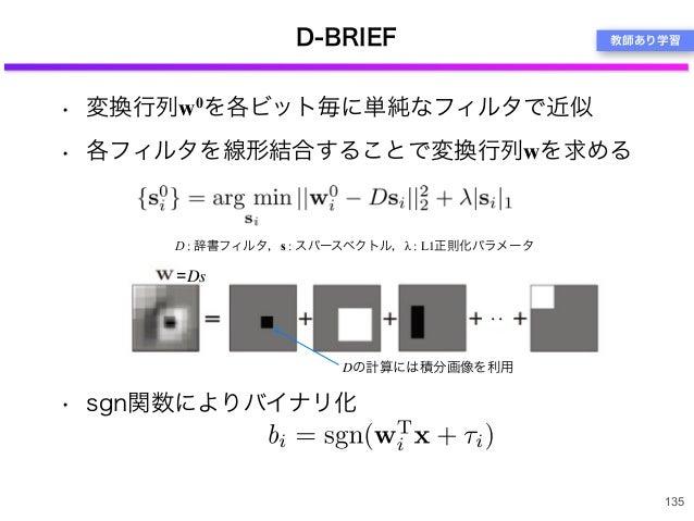 • 変換行列w0を各ビット毎に単純なフィルタで近似 • 各フィルタを線形結合することで変換行列wを求める • sgn関数によりバイナリ化 D-BRIEF 135 ・・ D : 辞書フィルタ,s : スパースベクトル,λ : L1正則化パラメータ...