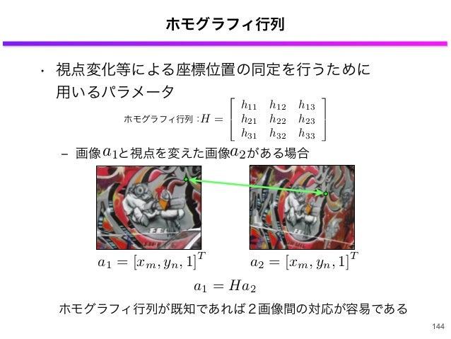 ホモグラフィ行列 • 視点変化等による座標位置の同定を行うために 用いるパラメータ ‒ 画像 と視点を変えた画像 がある場合 144 H = h11 h12 h13 h21 h22 h23 h31 h32 h33 ホモグラフィ行列: ホモグ...