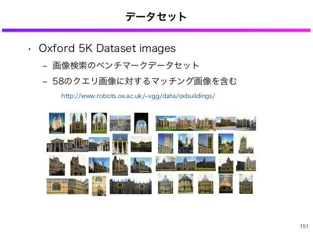 データセット • Oxford 5K Dataset images ‒ 画像検索のベンチマークデータセット ‒ 58のクエリ画像に対するマッチング画像を含む 151 http://www.robots.ox.ac.uk/ vgg/data/ox...