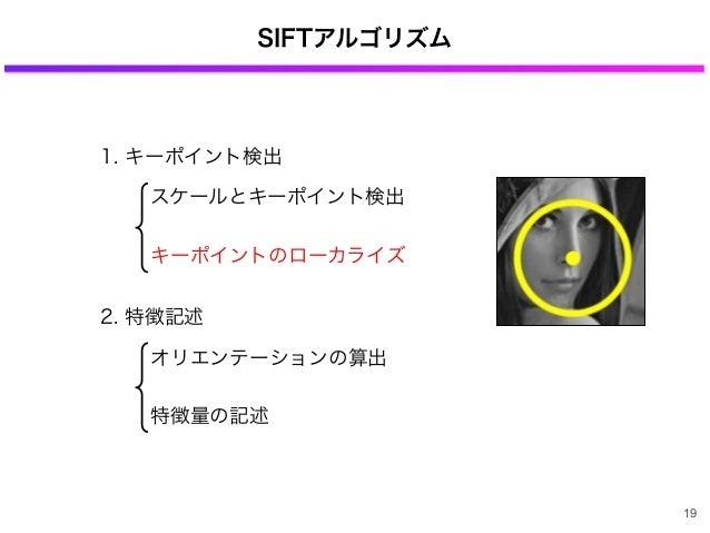 SIFTアルゴリズム 1. キーポイント検出 2. 特徴記述 スケールとキーポイント検出 キーポイントのローカライズ オリエンテーションの算出 特徴量の記述 19