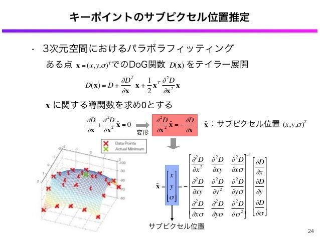 キーポイントのサブピクセル位置推定 € D(x) = D + ∂D ∂x T x + 1 2 xT ∂2 D ∂x2 x € ∂D ∂x + ∂2 D ∂x2 ˆx = 0 € ∂2 D ∂x2 ˆx = − ∂D ∂x ある点 でのDoG関数...