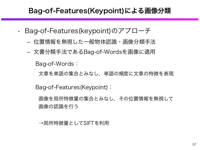 Bag-of-Features(Keypoint)による画像分類 • Bag-of-Features(keypoint)のアプローチ ‒ 位置情報を無視した一般物体認識・画像分類手法 ‒ 文書分類手法であるBag-of-Wordsを画像に適用 ...