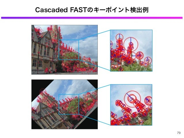 Cascaded FASTのキーポイント検出例 79