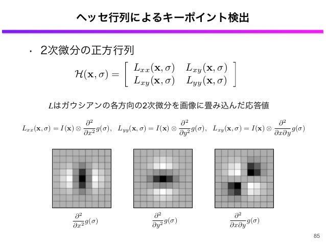 • 2次微分の正方行列 ヘッセ行列によるキーポイント検出 H(x, ) = Lxx(x, ) Lxy(x, ) Lxy(x, ) Lyy(x, ) ⇥ Lxx(x, ) = I(x) ⇤2 ⇤x2 g( ), Lyy(x, ) = I(x) ⇤...