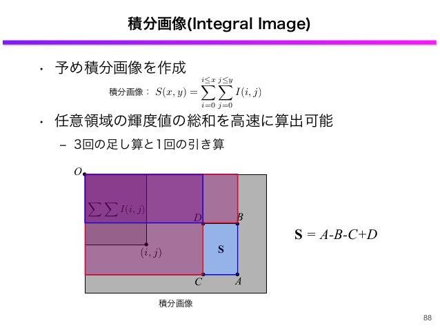 • 予め積分画像を作成 • 任意領域の輝度値の総和を高速に算出可能 ‒ 3回の足し算と1回の引き算 O 積分画像(Integral Image) A B C D S I(i, j) (i, j) S = -B-C+DA 88 積分画像 S(x,...