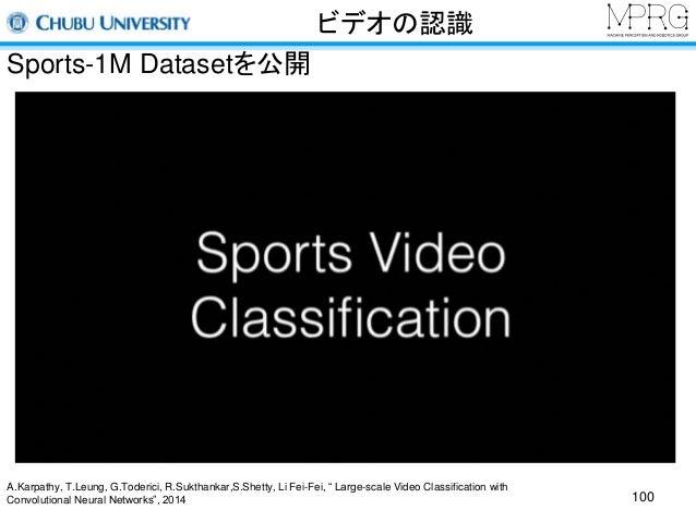 """ビデオの認識  Sports-1M Datasetを公開  100  A.Karpathy, T.Leung, G.Toderici, R.Sukthankar,S.Shetty, Li Fei-Fei, """" Large-scale Video..."""