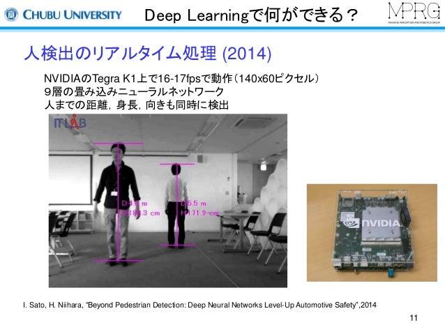 Deep Learningで何ができる?  人検出のリアルタイム処理(2014)  NVIDIAのTegra K1上で16-17fpsで動作(140x60ピクセル)  9層の畳み込みニューラルネットワーク  人までの距離,身長,向きも同時に検出...