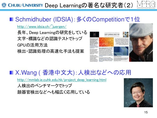 Deep Learningの著名な研究者(2)  Schmidhuber (IDSIA):多くのCompetitionで1位  http://www.idsia.ch/~juergen/  長年、Deep Learningの研究をしている  文...