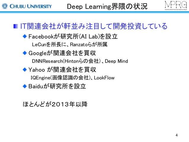 Deep Learning界隈の状況  IT関連会社が軒並み注目して開発投資している  Facebookが研究所(AI Lab)を設立  LeCunを所長に、Ranzatoらが所属  Googleが関連会社を買収  DNNResearch(Hi...